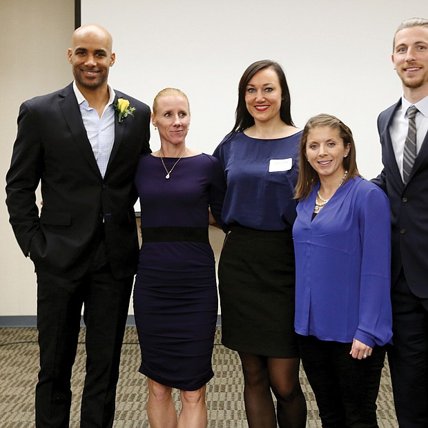 VCU Hall of Fame inductees // Former Virginia Commonwealth University standouts share the limelight after their induction last Saturday into the VCU Athletics Hall of Fame. The inductees and their sport are, from left, Boris Kodjoe, men's tennis, 1992-1996; Martina Nedelkova Somoano, women's tennis, 1997-2002; Kristine Austgulen, women's basketball, 1999-2003; Jen Parsons, women's soccer, 2001-2004; and Matthew Delicate, men's soccer, 2000-2003. Inductee Eric Maynor, men's basketball, 2005-2009, a former NBA player who now plays in Italy's top pro league, wasn't able to return to campus for the ceremony. Mr. Kodjoe, now a successful actor, observed during his remarks that five of the six inductees are immigrants. Mr. Kodjoe was born in Austria. He was the first VCU Ram to win the Intercollegiate Tennis Association regional title.