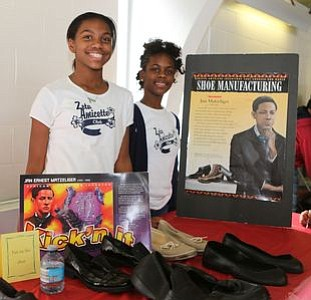 "Members of Zeta Phi Beta Sorority, Inc. Amicette's (Youth Group) at the ""Shoe Manufacturing"" - Jan Matzeliger station. -- Photo by April A. Ward"