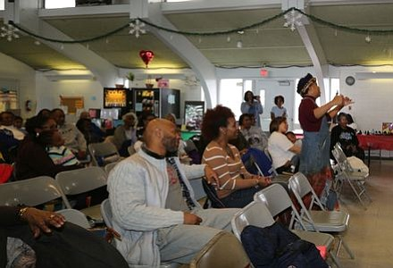 "Nationally renowned storyteller, Queen Nur led the crowd and volunteers in an interactive song about George Washington Carver's inventions in crop rotation and products from made peanuts, soybeans and sweet potatoes at the Zeta Phil Beta Sorority, Inc Omicron Omicron Zeta Chapter & Williamstown Civic Group, Inc.'s ""Making a Way Out of No Way African American Storytelling and Inventors' Museum"" event.  