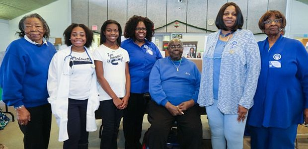 Annie Greene, Event Chair; Doshjinira Love, President of Archonette (Youth Group); Destiny Harper, President of Amicette (Youth Group); Vanessa William, President of Zeta Phi Beta Sorority, Inc. Omicron Omicron Zeta Chapter; Larry Cooper, President of Williamstown Civic Group Inc.; Cynthia Bryant, President of Amicee and Sharon Super, Event Chair. -- Photo by April A. Ward