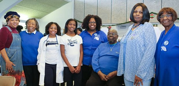 Queen Nur; Annie Greene, Event Chair; Doshjinira Love, President of Archonette (Youth Group); Destiny Harper, President of Amicette (Youth Group); Vanessa William, President of Zeta Phi Beta Sorority, Inc. Omicron Omicron Zeta Chapter; Larry Cooper, President of Williamstown Civic Group Inc.; Cynthia Bryant, President of Amicee and Sharon Super, Event Chair. -- Photo by April Ward
