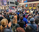 Crowds gather in New York City's Times Square Sunday afternoon for the I Am Muslim Too rally.