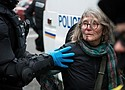 Tensions between Portland Police and anti-Trump protesters escalate. Peggy Zebroski, age 67, , was left with a bloodied face and broken nose.