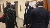 Shelby County Schools Superintendent Dorsey Hopson visits in the halls of Legislation Plaza Tuesday after speaking before a legislative committee at the State Capitol.