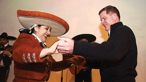 Mayor Martin Walsh joins Veronica Robles at the Veronica Robles Cultural Center for the 3rd Annual Valentine's Day Serenade in East Boston.