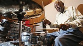 Legendary drummer Clyde Stubblefield plays a set at Sosonic studio on Sept. 4, 2015, before a benefit performance to raise money for a scholarship established in his honor in Madison, Wis.