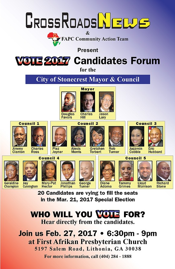 The 20 candidates vying for Stonecrest mayor and city council will faceoff at a Feb. 27 forum co-hosted by CrossRoadsNews ...