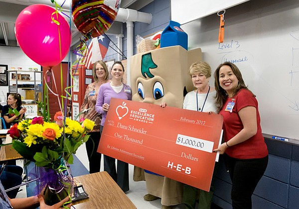 Diana Schneider from Henderson Middle School in Hardin-Jefferson ISD is a finalist for the 2017 H-E-B Excellence in Education Awards. (Photo by Laura Skelding)