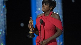 Viola Davis accepts the award for best-supporting actress at the 89th Academy Awards.