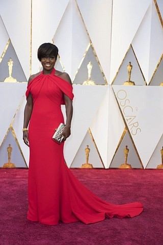Viola Davis appears on the red carpet of the Academy Awards in Los Angeles. The 89th Oscars broadcasts live on Sunday, February 26, 2017, on the ABC Television Network.