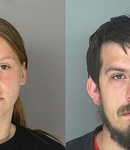 """Jose """"Joe"""" Torres (right) and Kayla Norton (left) were sentenced Monday, Feb. 28, 2017, for their role in terrorizing an African-American group who was attending a black child's birthday party in Douglas County, GA."""