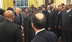 President Donald Trump meets with the presidents and chancellors from the nation's Historically Black Colleges and Universities.