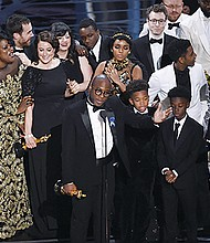After a startling presentation mix-up, Barry Jenkins and the Moonlight cast accepted the award for Best Picture at the Oscars on Sunday.  The coming-of-age drama took home three wins, including Mahershala Ali for best supporting actor. And for the first time in Academy Awards history, a black actor was nominated in every acting category.  (AP photo)