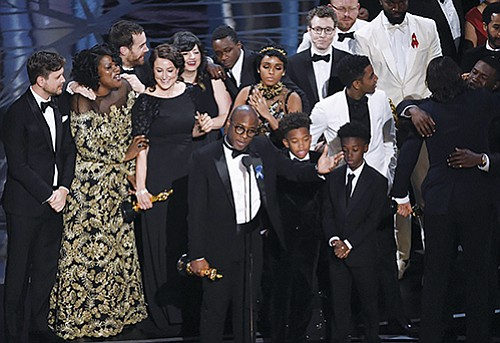 Barry Jenkins and the Moonlight cast accepted the award for Best Picture at the Oscars