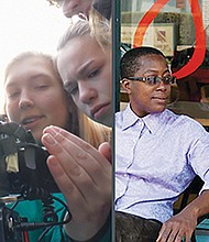 Young women form the community explore what it takes to become future filmmakers (right). And award-winning film director Cheryl Dunye with Lisa Gornick in a scene from the 'The Owls' (left)