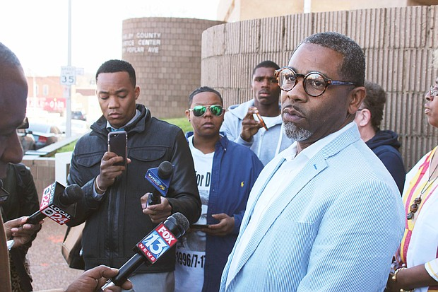 Rev. Stephen Bradley of Second Congregational Church was among the leaders of the Memphis Black Lives Matter movement who spoke at a press conference at 201 Poplar Friday, March 3.