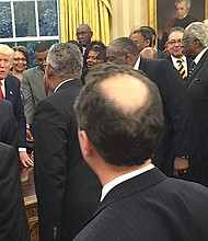 President Donald Trump met with the presidents and chancellors from the nation's Historically Black Colleges and Universities in the Oval Office at the White House onFebruary 27, 2017.