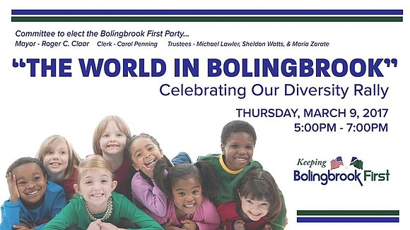 "Bolingbrook First party to host ""The World in Bolingbrook"" event to celebrate diversity."