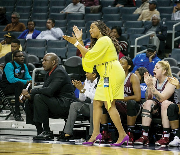 Virginia Union University Coach AnnMarie Gilbert, CIAA Women's Coach of the Year, directs from the sidelines.