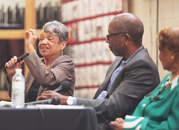 Dr. Christine Darden, left, a retired aeronautical engineer, shares her experiences working for 40 years at NASA's Langley Research Center in Hampton during Sunday's panel sponsored by the Black History Museum and Cultural Center of Virginia. With her is journalist Michael Paul Williams, who moderated the panel.