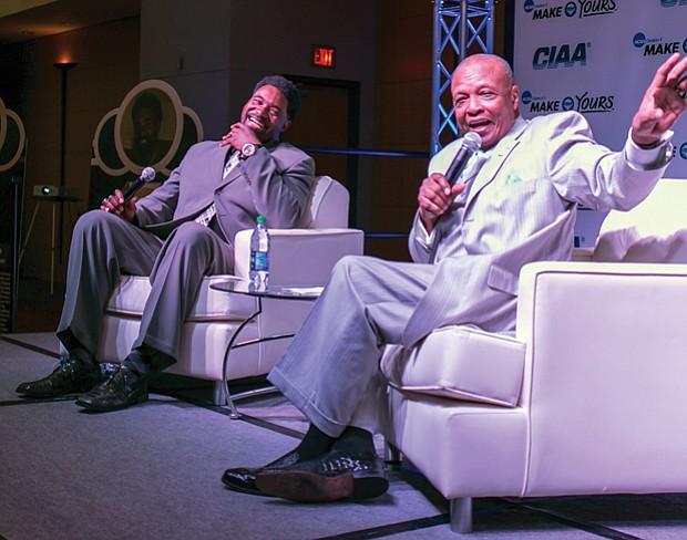 ESPN sportscaster Charlie Neal, right, a member of the CIAA Hall of Fame, interviews 2017 CIAA Hall of Fame inductee Derrick Johnson, a former Virginia Union University basketball standout.