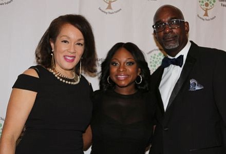 Pictured Left to Right: Lawnside Education Foundation, Inc. 2016-17 Board of Trustee President, Dr. Sandra G. Strothers; Naturi Naughton and Lawnside School District Superintendent, Dr. Ronn Johnson. -- Photo by April A. Ward