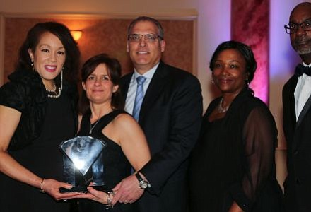 Pictured Left and Right: Lawnside Education Foundation, Inc. 2016-17 Board of Trustee President, Dr. Sandra G. Strothers; Lawnside Education Foundation, Inc., Platinum Level Donors, Owners of Shoprite, Lawnside, Mr. & Mrs. David and Renee Zallie and Lawnside School District's President, Board of Education, Mrs. Sabrina Forrest and Superintendent, Dr. Ronn Johnson. -- Photo by April A. Ward