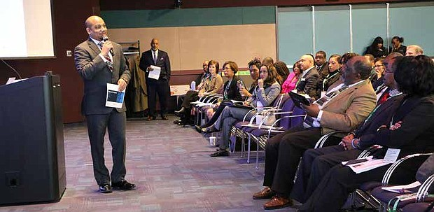 FCA US LLC supplier diversity launched a new initiative on Feb. 20 aimed at connecting its purchasing organization with minority, women and veteran business associations by providing customized training, learning and development, and networking opportunities. Pictured here, Dr. Ken Harris, President and CEO of the Michigan Black Chamber of Commerce, welcomes 50 certified African- American business owners to the Inaugural Black Supplier Engagement Forum held at FCA US headquarters in Michigan.
