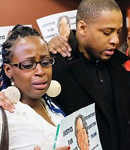 A photo circulated on Twitter shows Venus Hayes, the mother of 17 year old deceased Quanice Hayes, , at Portland City Hall after delivering  a powerful and emotional statement to the Mayor and City Council about her son's life, his death at the hands of police, and the current police investigation.