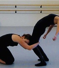 Dancers Amelia Unsicker and Kasandra Martinez rehearse.