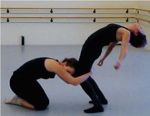 Dancers Amelia Unsicker and Kasandra Martinez rehearse.