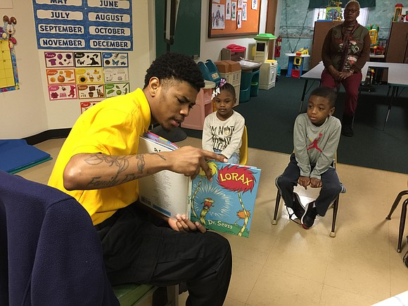 Joliet Job Corps students stopped by the Forest Park Community Center recently to read to students.