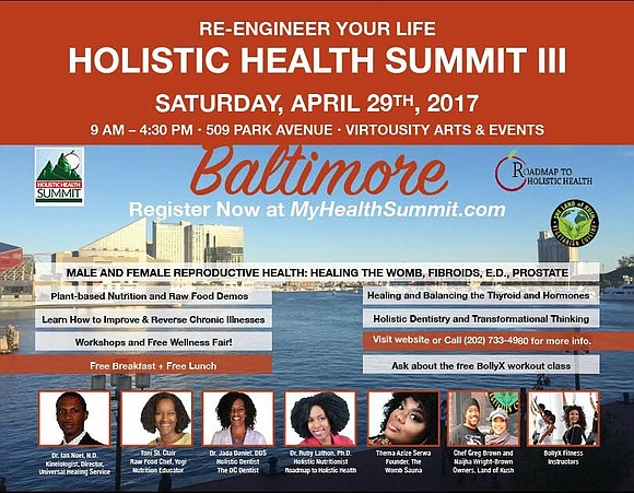 Baltimore Re-Engineer Your Life – Holistic Health Summit 2107 Saturday 29 April 2017