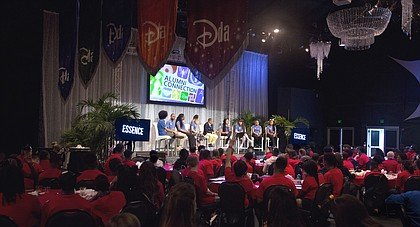 Youth at the 10th Disney Dreamers Academy listening to experiences of past dreamers.