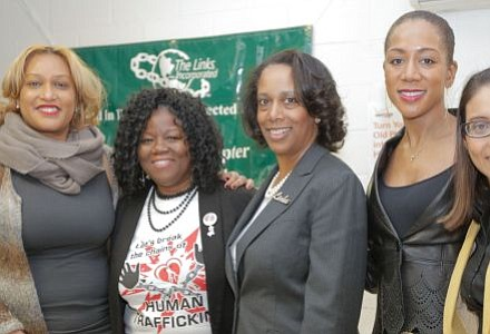 Angela M. Brown, Chair, Women's Issues for The South Jersey (NJ) Chapter of The Links Incorporated; Denise R. Poole, Founder of Heart 2 Heart Services; Karen Greene, Chapter President for The South Jersey (NJ) Chapter of The Links Incorporated; Shonda McClain, Columnist for South Jersey Journal and event's MC; and Gabriela M. Mosquera (D) New Jersey Assemblywoman. -- -- Photo by April A. Ward