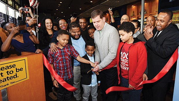 Mayor Martin Walsh joins Kriola Restaurant for a ribbon cutting ceremony to officially open the new Cape Verdean restaurant in Dorchester.