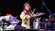 Patrice Rushen performs at the Berklee concert in celebrating traditional black music.