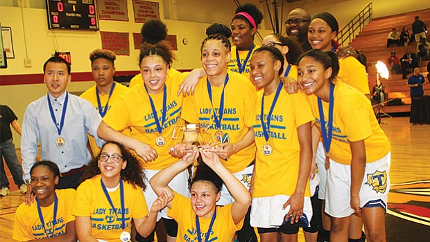 The New Mission High School girls basketball team and the Brighton High boys basketball team are city league champions on Thursday, Feb. 23 at Madison Park. New Mission defeated Fenway 55-50 and Brighton beat TechBoston 76-64. City Councilor Tito Jackson was on hand to celebrate. Both teams and several others in the BPS are competing in the state tournament round as we go to press this week