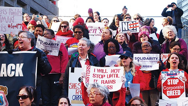 Demonstrators filled the riser and plaza in Downtown Crossing where they called for respect for women, equal pay for equal work and better working conditions for some workers, and protection from harassment as well as control over their own bodies and access to affordable birth control, among other demands.
