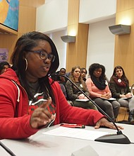 Dorchester Academy senior Fania Joseph testifies.