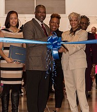 (Left) Ashley Jackson, Leonardo McClarty, President & CEO, Howard County Chamber of Commerce, and Dr. MarleneJackson celebrate the launch of Le'Chic Academy Foundation's 2016 Ribbon Cutting Biz Kidz Shark Tank Competition,Young Exhibitor Fair and Award Ceremony.