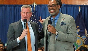 Mayor Bill de Blasio and Councilman Robert Cornegy