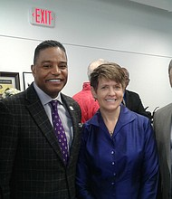 (Left to right) Shawn Brown, regional sales manager of Strong Tower Security; Calvin Butler, CEO of BGE; Kristin Jurkscheit,Place for Purpose Manager at Baltimore Corps; and Rodney Foxworth, founder and CEO of Invested Impact atthe grand opening of TouchPoint, a collaborative work-space located at 2401 Liberty Heights Avenue in Baltimore City on February 17, 2017.