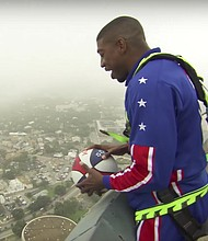 Bucket Blakes has been a member of the iconic Harlem Globetrotters for 15 years. He recently broke the record for the highest basketball shot ever taken in North America with an epic shot off the Tower of the Americas in San Antonio, Texas.