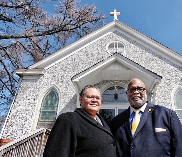 New home for City Park Church // Pastor Joe Ellison and his wife, Kendra Ellison, stand in front of Tenth Street Baptist Church, which is renting space to the Ellisons to operate their independent City Park Church. Location: 2300 Fairmount Ave. in Church Hill. The Ellisons, who previously operated a church and day care in Essex Village in Henrico County, plan for their new church to focus on programs and services for residents of the nearby Fairfield Court public housing community. Pastor Ellison also serves as a chaplain for NASCAR and for sports teams in the Richmond area.