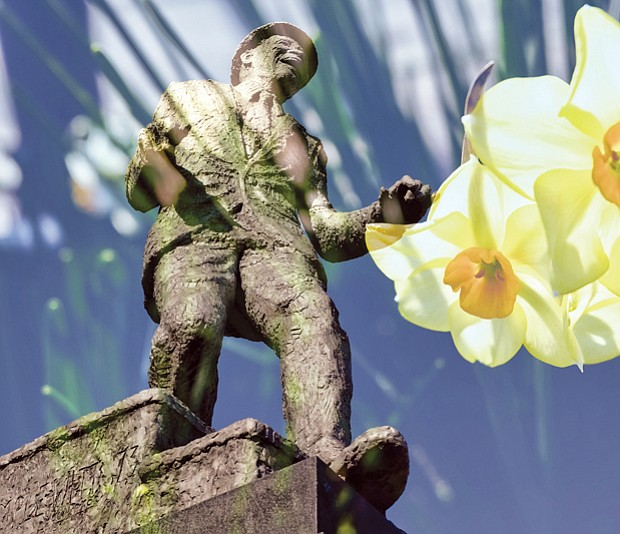 Artistic image of Bojangles statue in Jackson Ward