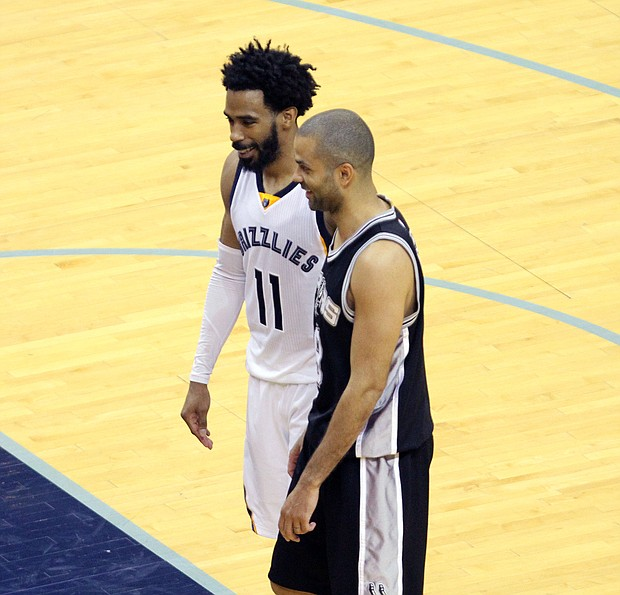Frenemies: Despite their many regular-season and playoff battles, Mike Conley and Tony Parker can still share a smile during their March 18 matchup at FedExForum. The Grizzlies beat the Spurs 104-96.