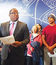 City Councilor Tito Jackson speaks during a press conference held before a School Committee hearing on the fiscal year 2018 budget.