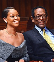 International pop star Rihanna (given name, Robyn Fenty) received the 2017 Harvard Humanitarian of the Year Award from Dr. S. Allen Counter, director of the Harvard Foundation, in a ceremony held at Sanders Theater in Cambridge. Rihanna received the award for her philanthropic work in the Caribbean and Africa. At age 18, she founded the Believe Foundation and has launched the Clara Lionel Foundation and formed a partnership with the Global Partnership for Education.