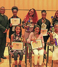 This year's Talent Hunt contestants with members of Pi Omega Chapter and the Pi Omega Foundation at the Reginald F.Lewis Museum of Maryland African American History & Culture on March 5, 2017. (First row, left to right) Sierra Kinsler;Trinity Kinsler; and Alexis Eley (Second row, left to right) Allen Taylor, Ron Williams, Basileus, Pi Omega Chapter;Autumn Hancock; Shimijah Dorsey; Myla Brown; Jasmine Oyefusi; and Talent Hunt Chairman John Berkley.